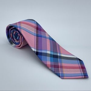 Tommy Hilfiger Barbecue Silk Plaid Pink Tie